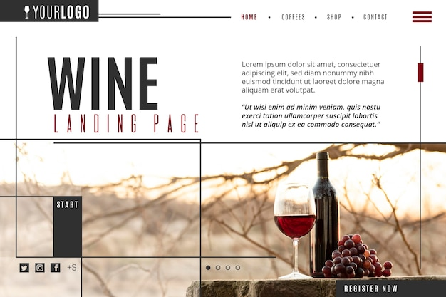 Modello di pagina di destinazione del vino Vettore Premium