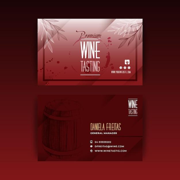 Modello di biglietto da visita dell'annuncio di degustazione di vini Vettore Premium