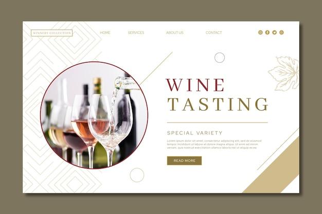 Pagina di destinazione del modello di annuncio per degustazione di vini Vettore Premium