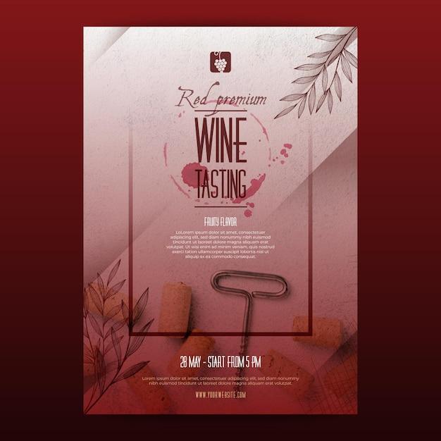 Modello di poster di degustazione di vini Vettore Premium