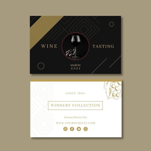 Biglietto da visita modello degustazione di vini Vettore Premium