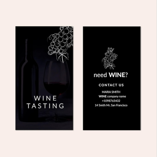 Modello di biglietto da visita verticale di degustazione di vini Vettore Premium