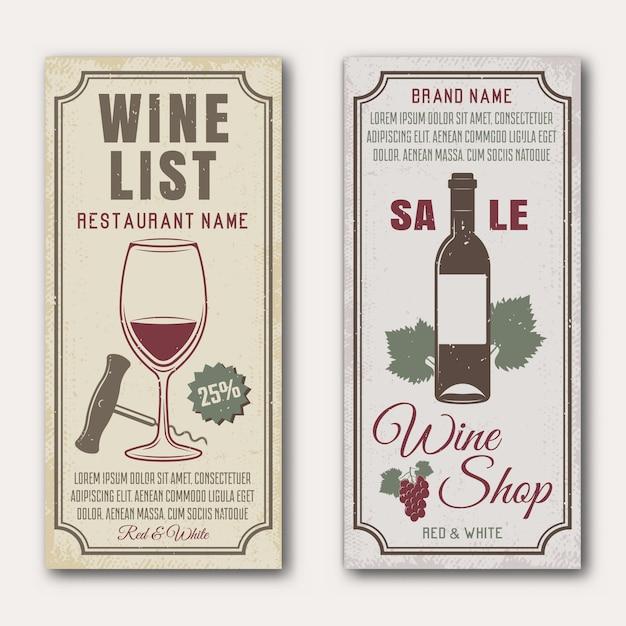 Insegne verticali del vino con il mazzo di uva di vetro e della bottiglia Vettore Premium