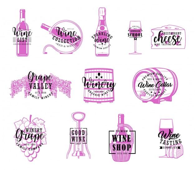Vino e cantina, scritte dell'azienda vinicola Vettore Premium