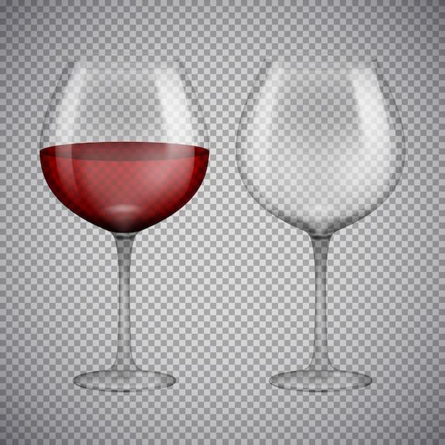 Bicchiere da vino con vino rosso. illustrazione isolato su sfondo. Vettore Premium