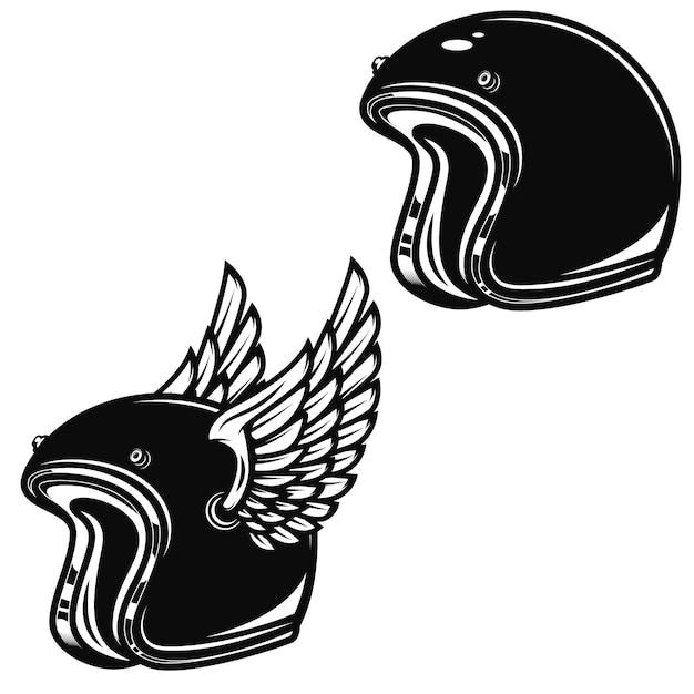 Casco da corsa alato su priorità bassa bianca. elemento per logo, etichetta, emblema, segno, distintivo. illustrazione Vettore Premium
