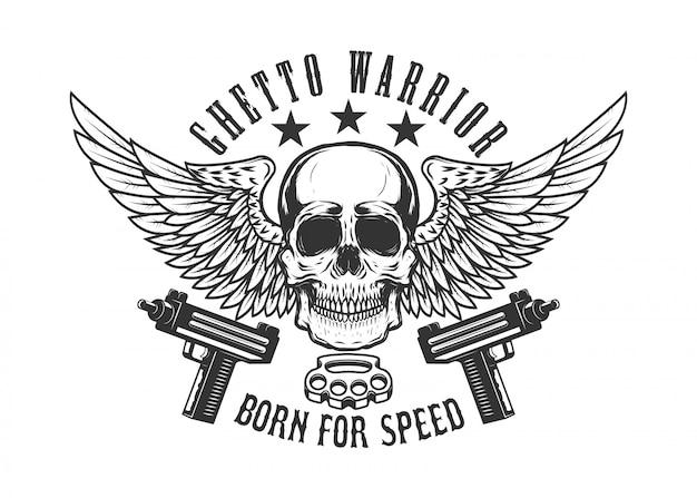 Teschio alato con pistole. elemento per logo, etichetta, emblema, segno. immagine Vettore Premium