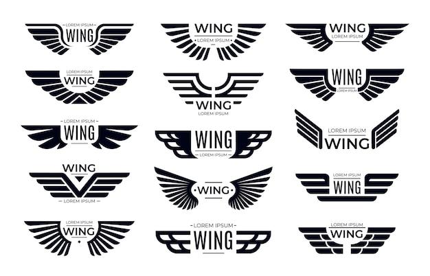 Distintivi di ali. emblema volante, ala di uccello dell'aquila e cornice alata. Vettore Premium