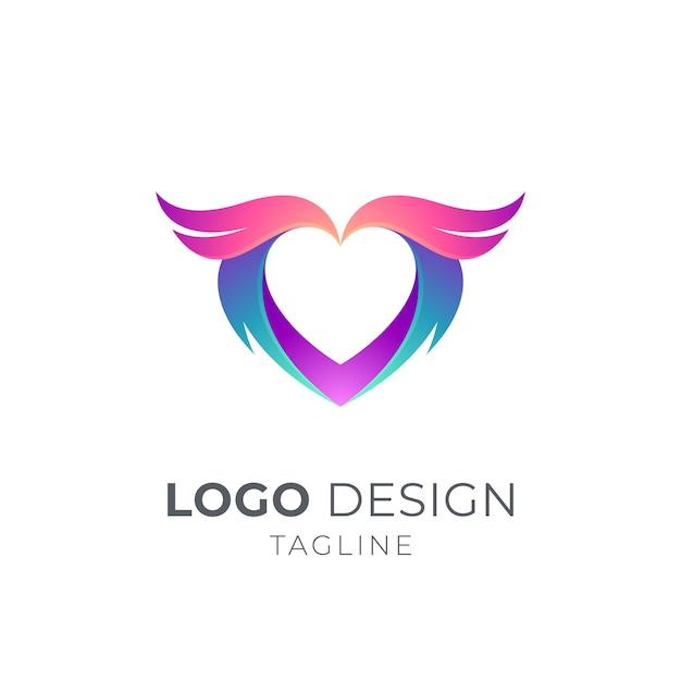 Modello di concetto di logo del cuore di ali Vettore Premium