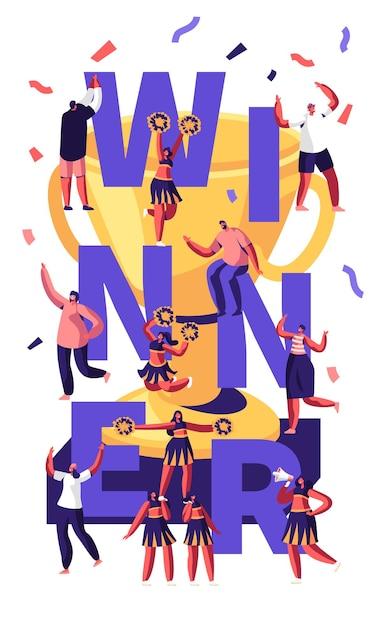 Concetto del vincitore con la piramide di fabbricazione della squadra delle cheerleaders sulla competizione sportiva e sulle persone allegre intorno alla coppa d'oro e ai coriandoli Vettore Premium