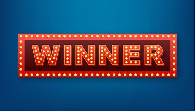 Il banner retrò vincitore con lampade incandescenti. poker, carte, roulette e lotteria. illustrazione di riserva. Vettore Premium