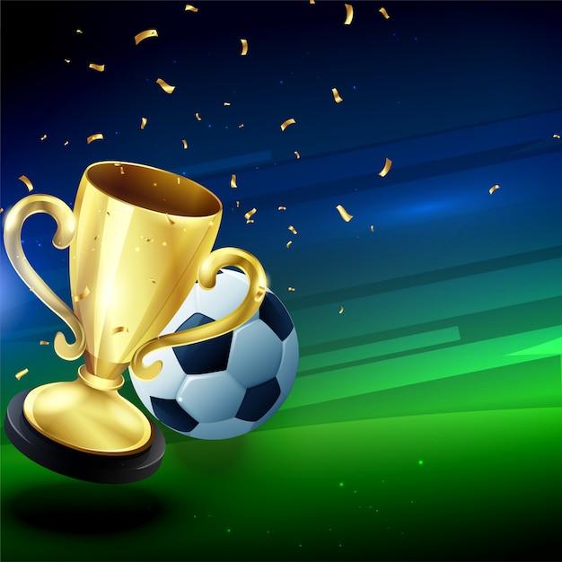 Trofeo d'oro vincente con sfondo di calcio Vettore Premium