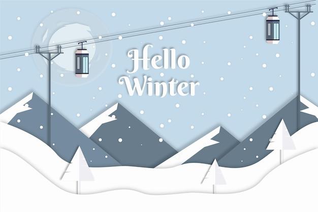 Sfondo invernale con funivie in stile carta Vettore Premium