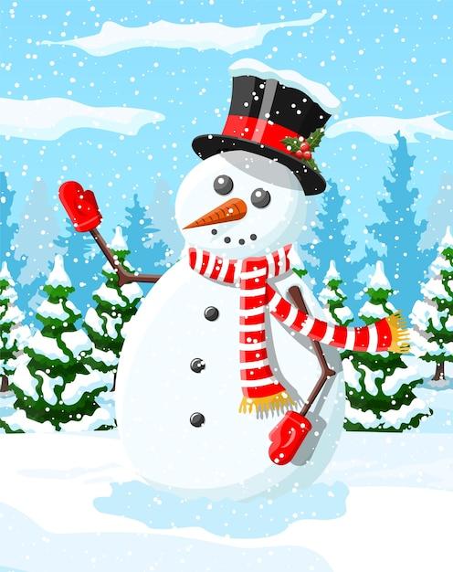 Cartolina di natale invernale con pupazzo di neve Vettore Premium