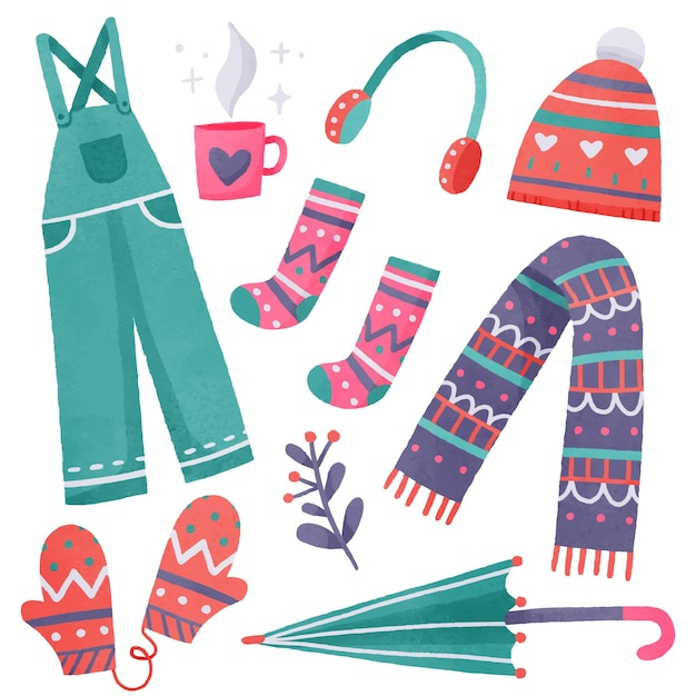 Collezione di abiti invernali ed essenziali Vettore Premium