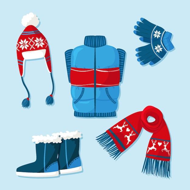 Set di vestiti invernali ed essenziali Vettore Premium