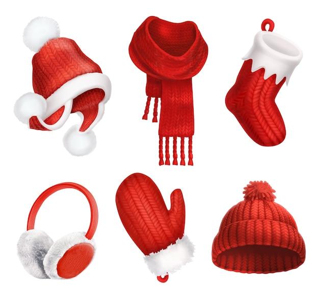 Abiti invernali. cappello lavorato a maglia. calzino di natale. sciarpa. mitten. paraorecchie. icona di vettore 3d Vettore Premium