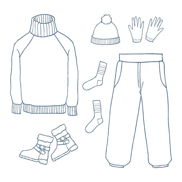 Set di vestiti invernali Vettore Premium