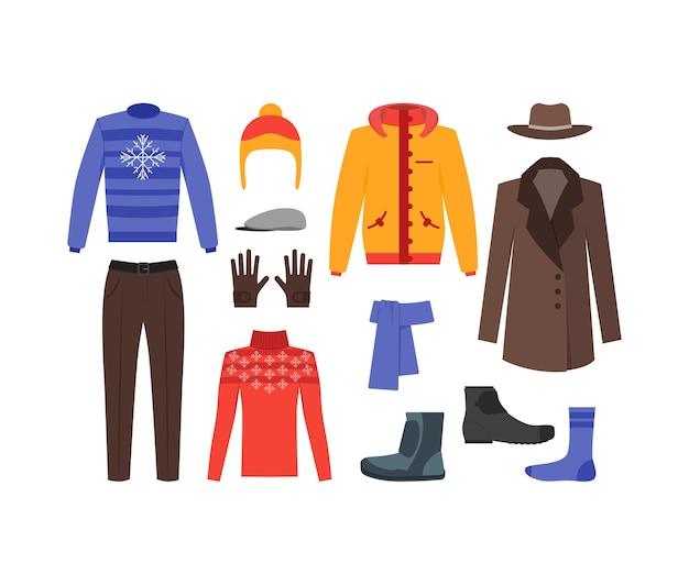 Abbigliamento invernale uomo set moda stagionale shopping piatto stile. Vettore Premium