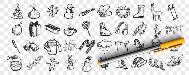 Insieme di doodle di inverno. raccolta di schizzi disegnati a mano modelli modelli stagione fredda pupazzo di neve e babbo natale o sci o albero di natale su sfondo trasparente. celebrazione dell'illustrazione del nuovo anno. Vettore Premium
