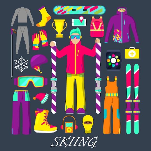 Attrezzatura invernale per sci set di icone con uomo, sci, vestiti e occhiali di protezione. illustrazione Vettore Premium