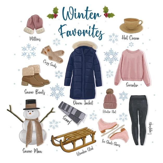 Illustrazione disegnata a mano dell'accumulazione dei favoriti di inverno Vettore Premium