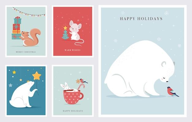Animali della foresta invernale, biglietti di auguri di buon natale, poster con simpatico orso, uccelli, coniglietto, cervo, topo e pinguino. Vettore Premium