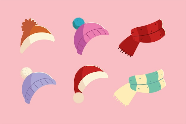 Cappelli invernali e sciarpa lavorata a maglia accessori vestiti icone design Vettore Premium