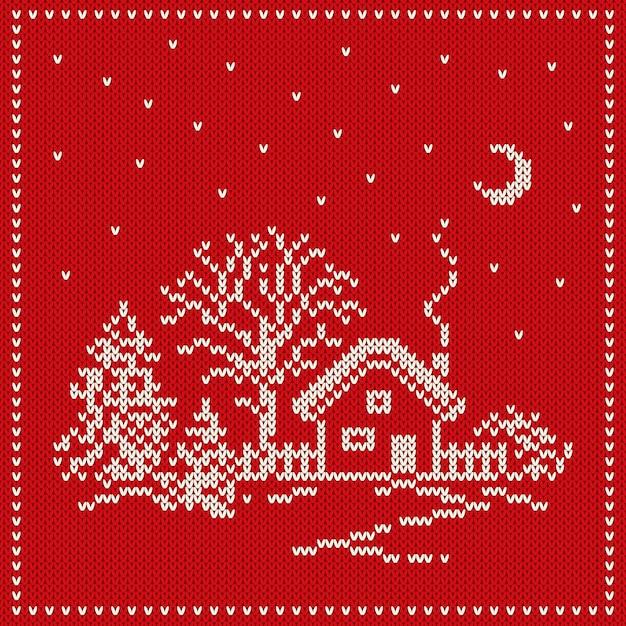 Reticolo di lavoro a maglia senza giunte di vacanza invernale. sfondo senza giunte di natale e capodanno Vettore Premium