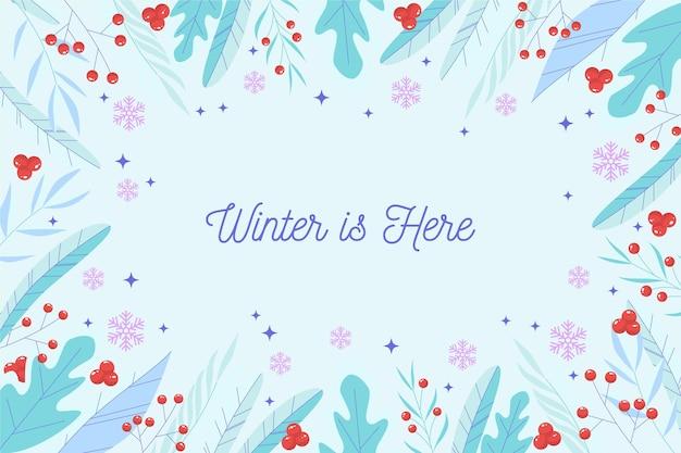 L'inverno è qui lettering sfondo Vettore Premium