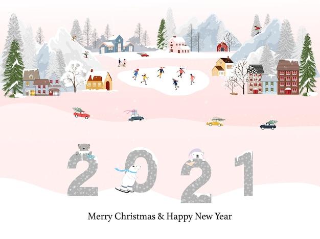 Villaggi Di Natale 2021.Paesaggio Invernale Con Felice Anno Nuovo 2021 E Buon Natale Persone Che Si Divertono A Fare Attivita All Aperto A Capodanno Giorno Di Natale In Villaggio Con Persone In Festa Vettore Premium
