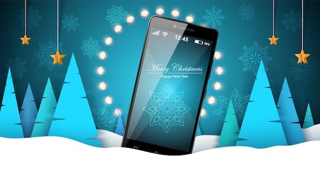 Paesaggio invernale con smartphone Vettore Premium
