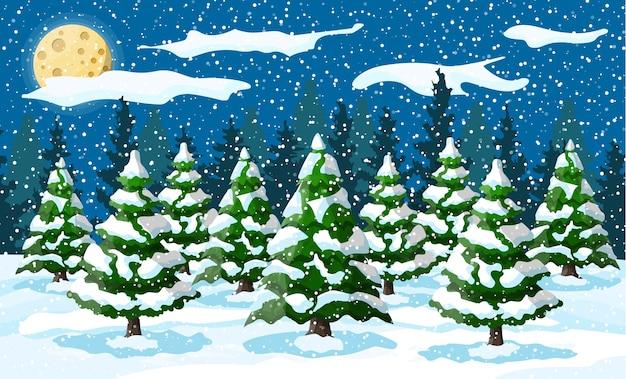 Paesaggio invernale con alberi di pino bianco sulla collina di neve nella notte. paesaggio di natale con foresta di abeti e nevica. felice anno nuovo celebrazione. vacanze di natale di capodanno. Vettore Premium