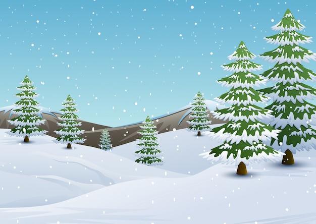 Paesaggio invernale di montagne con abeti e neve che cade Vettore Premium