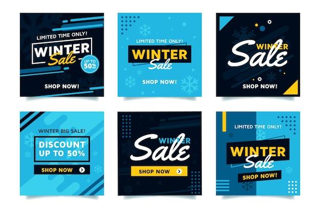 Collezione post di instagram di saldi invernali Vettore Premium
