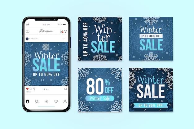 Modello di post instagram di vendita invernale Vettore Premium