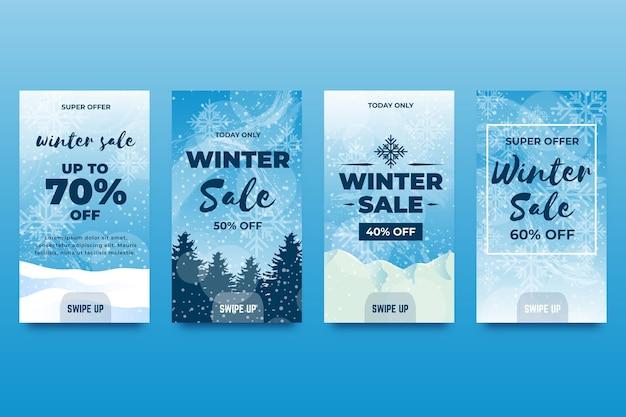 Collezione di storie di instagram di vendita invernale Vettore Premium