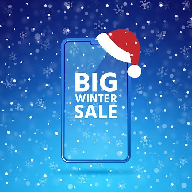 Modello dello schermo del telefono cellulare di vendita di inverno, smartphone con il cappello di santa, cielo blu, fondo dei fiocchi di neve Vettore Premium