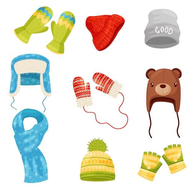 Sciarpa invernale, cappelli e berretti, guanti e guanti per uomo e donna. icone dei cartoni animati. Vettore Premium