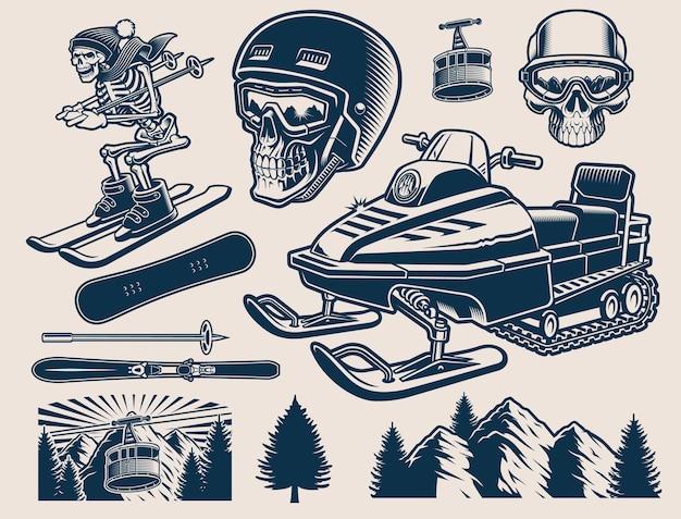 Clipart di sport invernali con diverse illustrazioni Vettore Premium
