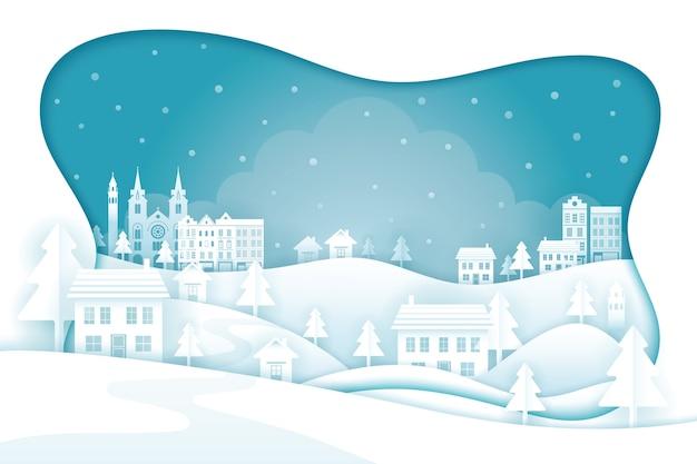 Paesaggio della città a tema invernale Vettore Premium