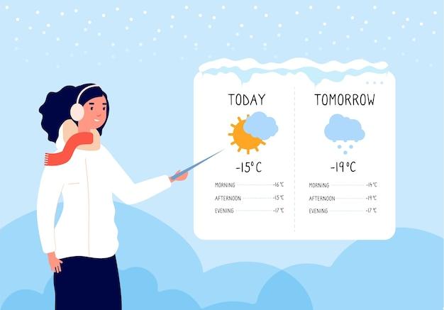 Previsioni meteo invernali Vettore Premium