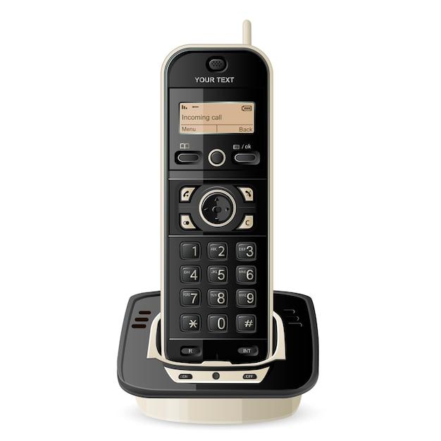 Illustrazione del telefono senza fili Vettore Premium