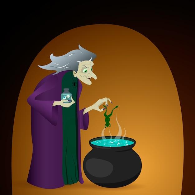 La strega prepara una pozione nel calderone. illustrazione per halloween Vettore Premium