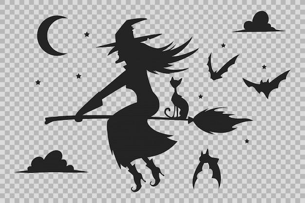 Strega su una scopa, sagoma di gatto nero e pipistrelli. sagome di halloween isolate Vettore Premium