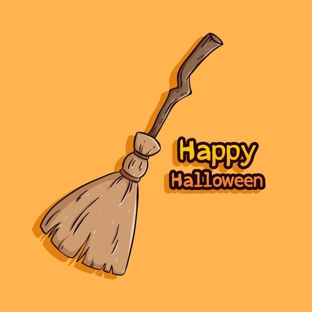 Scopa strega con felice testo di halloween Vettore Premium
