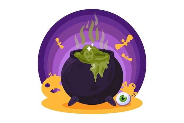 Calderone della strega con pozione verde. vacanze di halloween, elemento di halloween spettrale. illustrazione Vettore Premium