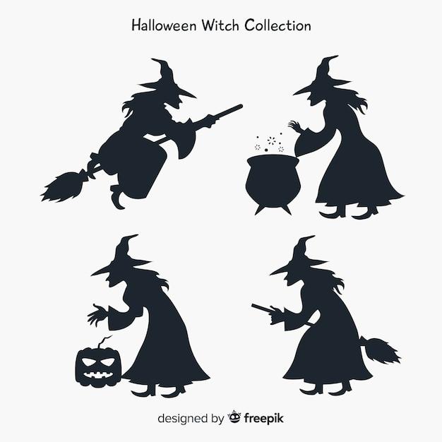 Collezione di personaggi di streghe con stile silhouette Vettore Premium