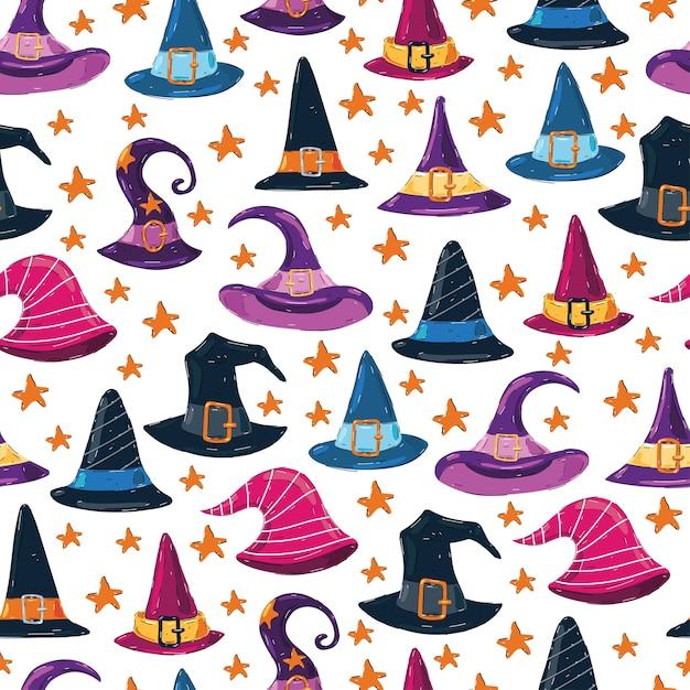 Witch cappelli seamless pattern su sfondo bianco per carta da parati, confezionamento, imballaggio. Vettore Premium