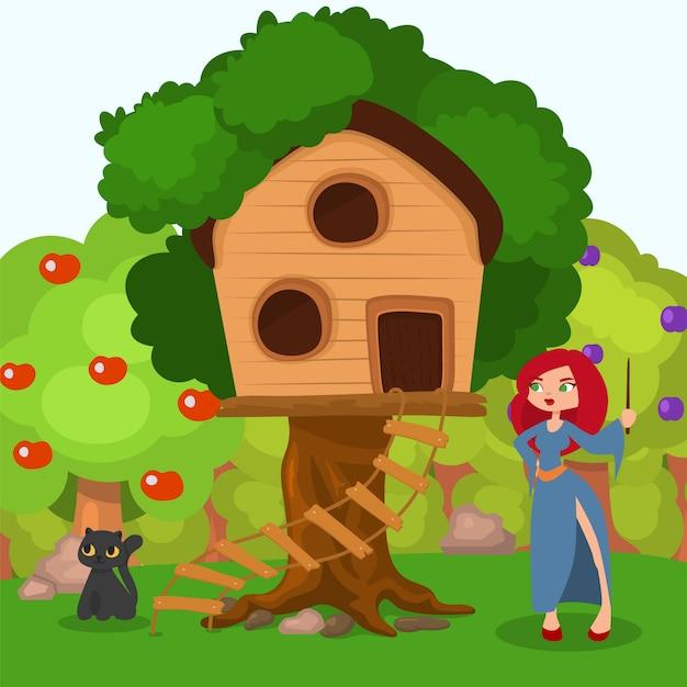 Strega vicino a casa all'albero, illustrazione del carattere del gatto nero. spettrale scena di halloween, donna con cappello vicino casa dei cartoni animati. Vettore Premium